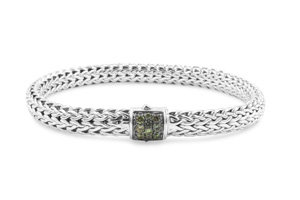 John Hardy Silver Small Classic Chain Mixed Grey Sapphire Bracelet