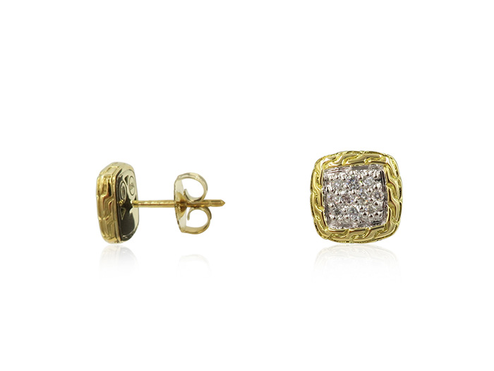 John Hardy 18K Yellow Gold Classic Chain Diamond Earrings, Featuring Round Diamonds =.21cts Total Weight