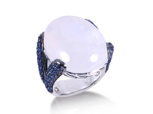 John Hardy Classic Chain Ring, Fashioned in Sterling Silver, Featuring a 24X18MM Oval Rainbow Moonstone, Accented with Light Blue Sapphires