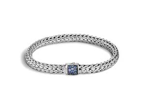 John Hardy Silver Classic Chain Small Bracelet, Featuring a Clasp with Blue Sapphires