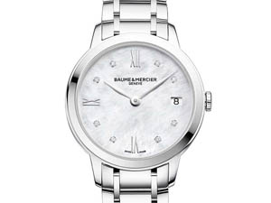 Baume & Mercier Classima 31MM Steel Watch, with a Mother of Pearl Diamond Dial and Quartz Movement
