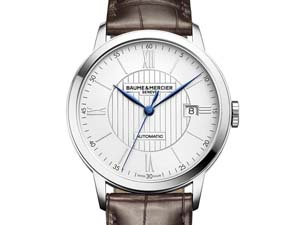 Baume & Mercier Classima Large Model Watch, Fashioned in Stainless Steel, Featuring a Silver Dial, Dark Brown Alligator Strap and Automatic Movement