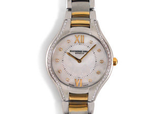 Raymond Weil Noemia 32MM Watch, Fashioned in Stainless Steel with Yellow Gold Plating, Featuring a Mother of Pearl Diamond Dial and Quartz Movement