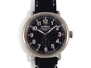 Shinola Runwell Stainless Steel 41MM Watch, Featuring a Black Dial, Black Leather Strap and Quartz Movement