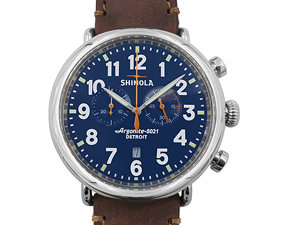 Shinola Runwell Chronograph 47MM Steel Watch, Featuring a Blue Dial, Brown Leather Strap and Quartz Movement