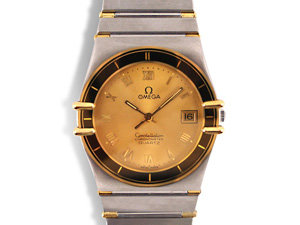 Alson Pre-Owned Omega Constellation 34MM Watch, Fashioned in Stainless Steel and 14K Yellow Gold, Featuring a Champagne Roman Numeral Dial and Quartz Movement