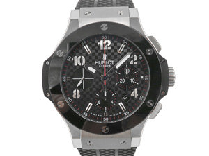 Alson Pre-Owned Hublot Big Bang Chronograph 44MM Watch, Featuring a Stainless Steel and Black Ceramic Case, Black Carbon Fiber Pattern Dial and Black Rubber Strap, Circa 2016