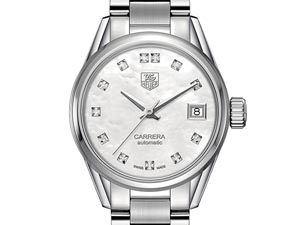 Tag Heuer Carrera 28MM Watch , Fashioned in Stainless Steel, Featuring a Mother of Pearl Dial and Automatic Movement