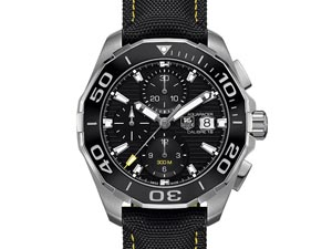 Tag Heuer Aquaracer Chronograph 43MM Watch, Fashioned in Stainless Steel, Featuring a Black Dial, Black Bezel, Black Strap and Automatic Movement