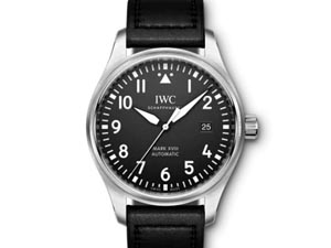 IWC Pilot Mark XVIII 40MM Steel Watch, with a Black Dial, Black Leather Calf Skin Strap and Automatic Movement