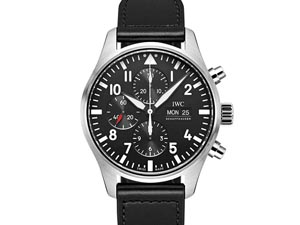 IWC Pilot Classic Chronograph 43MM Watch, Fashioned in Stainless Steel, Featuring a Black Dial, Black Calf Strap and Automatic Movement