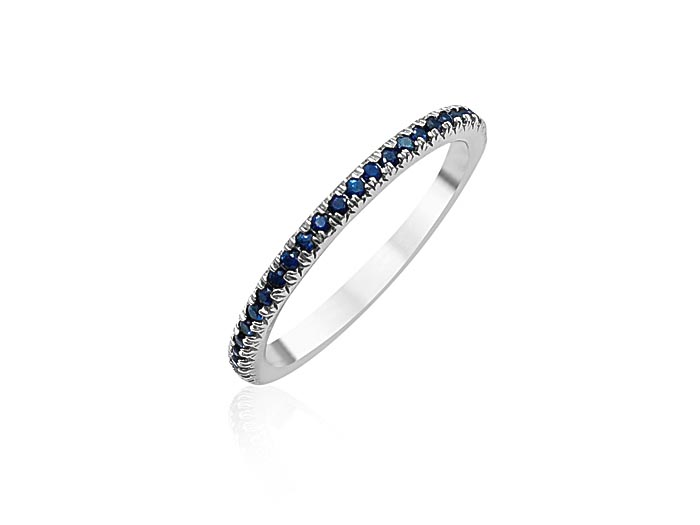 ArtCarved Stackable Eternity Band, Fashioned in 14K White Gold, Featuring Round Blue Sapphires
