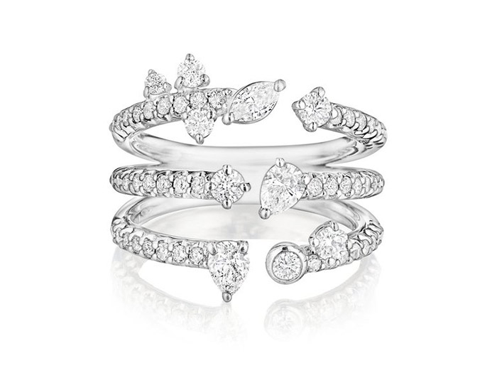 Penny Preville 18K White Gold Triple Constellation Band, Featuring 1 Marquise Diamond, 2 Pear Shape Diamonds and 60 Round Diamonds =1.41ctw