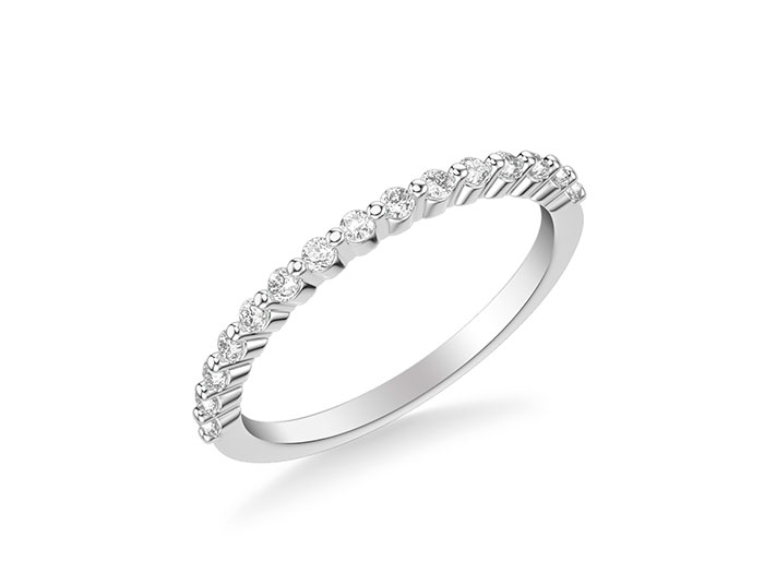 ArtCarved 14K White Gold Shared Prong Band, Featuring 15 Round Diamonds =.26ctw