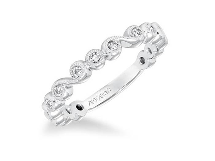 ArtCarved Stackalbe Band, Fashioned in 14K White Gold, Featuring Fifteen Round Diamonds =.33cts Total Weight