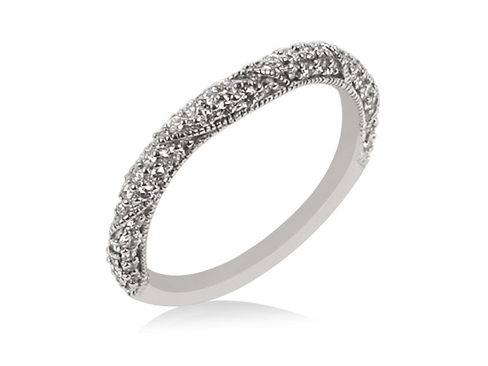 ArtCarved 14K White Gold Diamond Band with Milgrain Edge, .40ct.