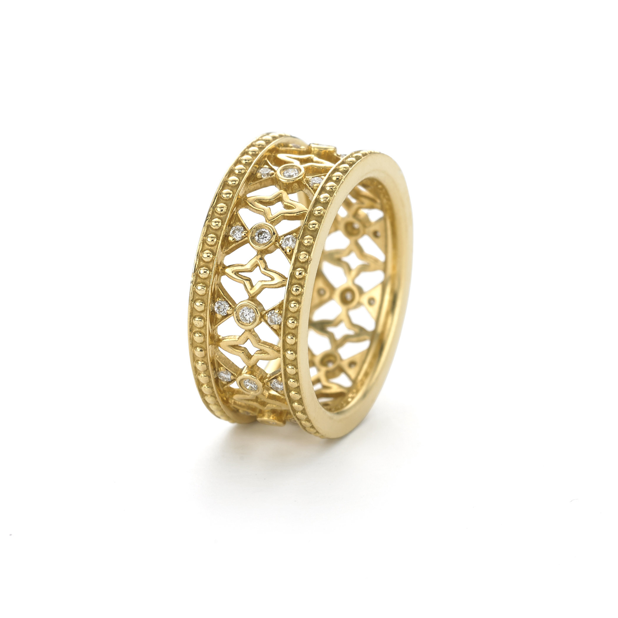 Katie Decker Baroque Beaded Edge Diamond Band, Fashioned in 18K Yellow Gold, Featuring Round Diamonds =.22cts Total Weight
