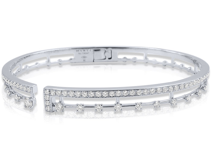 Marli 18K White Gold Avenues Diamond Hinged Cuff Bracelet, Featuring 80 Round Diamonds =1.20cts Total Weight