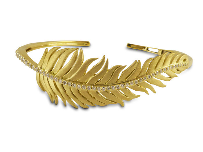 Penny Preville 18K Yellow Gold Diamond Feather Hinged Cuff Bracelet, Featuring 47 Round Diamonds =.44cts Total Weight