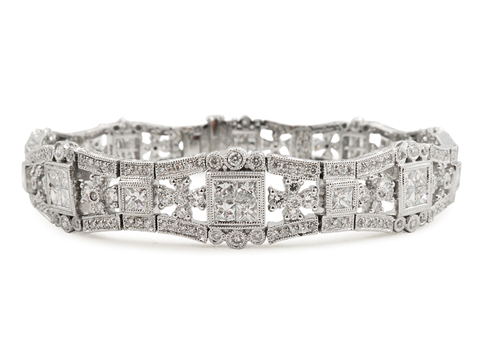 Alson Signature Collection 18K White Gold Bracelet, Featuring 40 Princess Cut Diamonds =3.89cts Total Weight and 336 Round Diamonds =3.04cts Total Weight