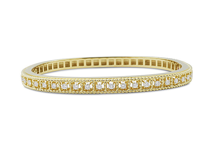Roberto Coin 18K Yellow Gold Byzantine Barocco Bangle Bracelet, Featuring 24 Round Diamonds =.50ctw