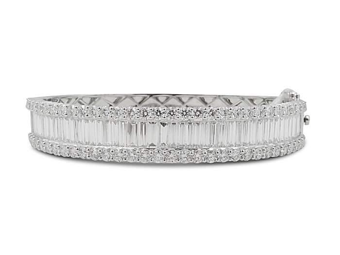 Alson Signature Collection 18K White Gold Hinged Bangle Bracelet, Featuring 49 Baguette Diamonds =4.54ctw, Accented with 62 Round Diamonds =3.45ctw
