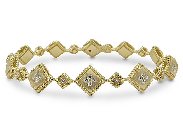 Roberto Coin 18K Yellow Gold Palazzo Ducale Bracelet, Featuring 46 Round Diamonds =.58ctw