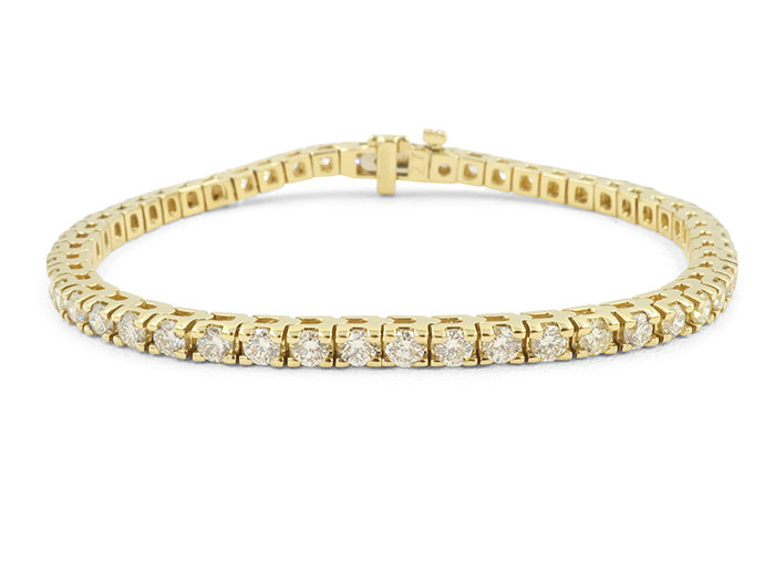 Alson Signature Collection 14K Yellow Gold Straight Line Four-Prong Diamond Bracelet, Featuring 52 Round Diamonds =4.53cts Total Weight, G-H Color, SI Clarity