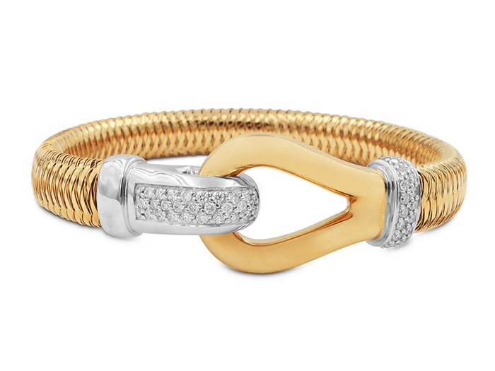 From the Roberto Coin Primavera Collection, this 18K Rose and White Gold Diamond Buckle Bracelet Features Round Diamonds =.43cts Total Weight