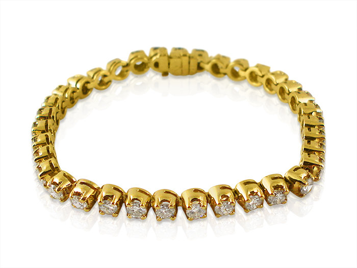 Alson Signature Collection Four Prong Diamond Bracelet, Fashioned in 18K Yellow Gold and Featuring Thirty-Five Round Diamonds =6.00cts Total Weight