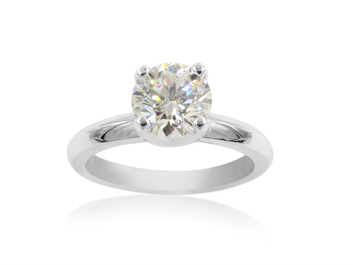 Alson Signature Collection 14K White Gold Diamond Solitaire Engagement Ring, Featuring a 1.31 Carat Round Diamond, SI1 Clarity, G Color, GIA Certified