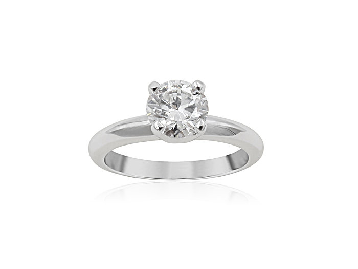 Alson Signature Collection 14K White Gold Solitaire Engagement Ring, Featuring a 1.00 Carat Round Diamond, G Color, VS2 Clarity, GIA Certified