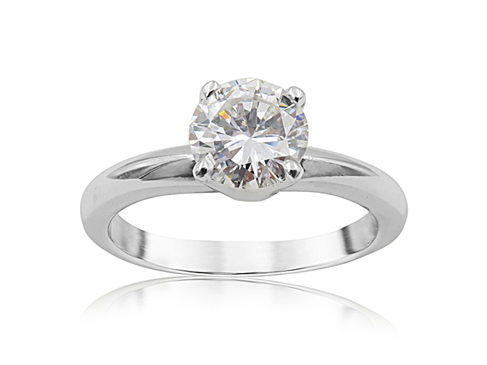 Alson Signature Collection 14K White Gold Solitaire Engagement Ring, Featuring a 1.02ct Round Diamond, E Color, VS2 Clarity, GIA Certified