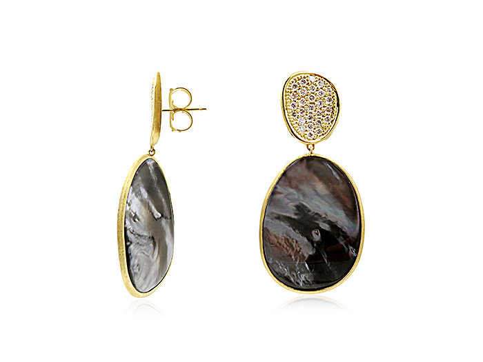 Marco Bicego 18K Yellow Gold Lunaria Earrings, Featuring Black Mother of Pearl, Accented with Round Diamonds =1.06cts Total Weight
