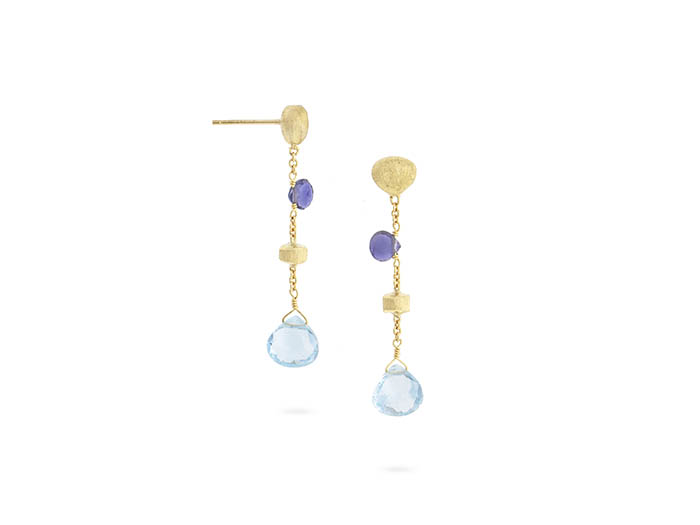 Marco Bicego 18K Yellow Gold Paradise Drop Earrings, Featuring Tabeez Cut Iolite and Blue Topaz