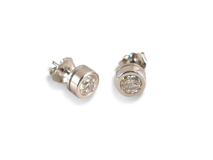 Alson Signature Collection Bezel Set Diamond Stud Earrings, Fashioned in 14K White Gold, Featuring Two Round Diamonds =.84cts Total Weight, J Color, SI2 Clarity