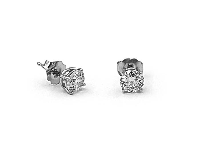 Alson Signature Collection 14K White Gold Diamond Stud Earrings, Featuring 2 Round Diamonds =1.02cts Total Weight, SI2 Clarity, H Color
