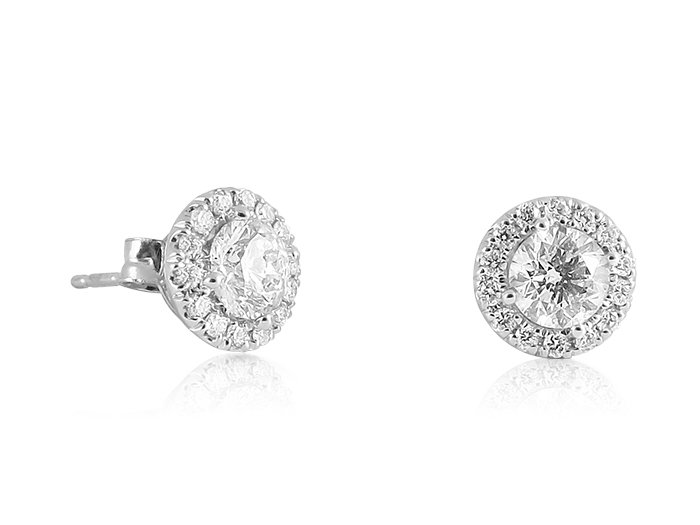 Alson Signature Collection 14K White Gold Diamond Halo Stud Earrings, Featuring 2 Round Diamonds =.76ct Total Weight, H Color, I1 Clarity, Accented with 28 Round Diamonds =.24cts Total Weight
