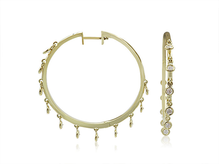 Penny Preville 18K Yellow Gold 1.10CTW Diamond Eyeglass 40MM Hoop Earrings