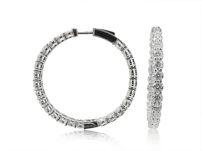Alson Signature Collection 18K White Gold Inside/Outside Diamond Hoop Earrings, Featuring 50 Round Diamonds =10.06ctw