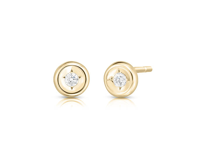 Roberto Coin 18K Yellow Gold Earrings, Featuring 2 Round Diamonds =.08ctw