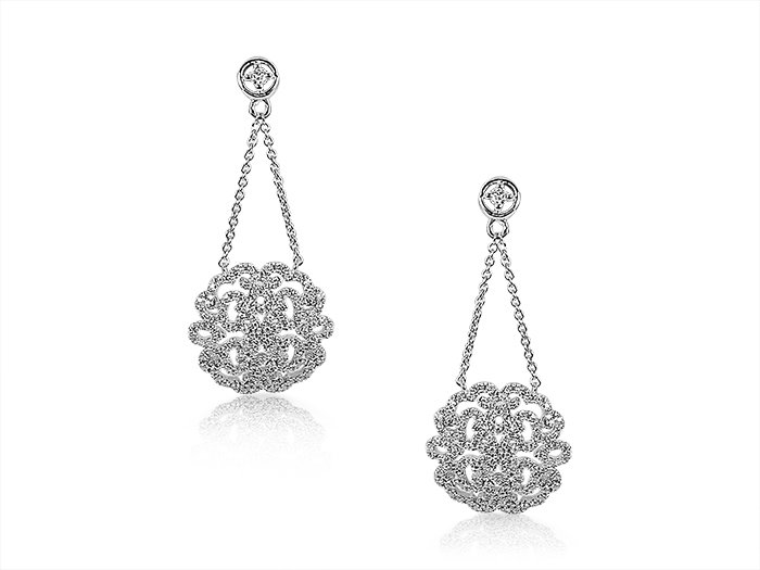 Alson Special Value Djula18K White Gold Dangle Earrings Feature Round Diamonds =.60cts Total Weight