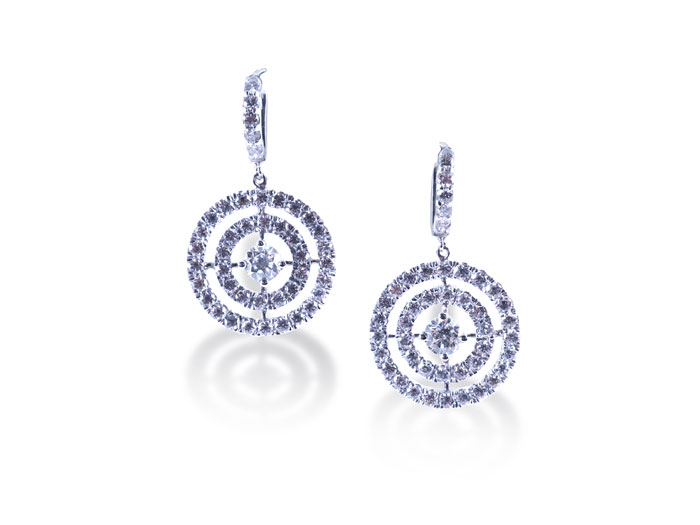 Alson Signature Collection Circle Drop Diamond Earrings, Fashioned in 18K White Gold, Featuring Ninety Round Diamonds =3.09cts Total Weight, F/G Color, VS-SI1 Clarity