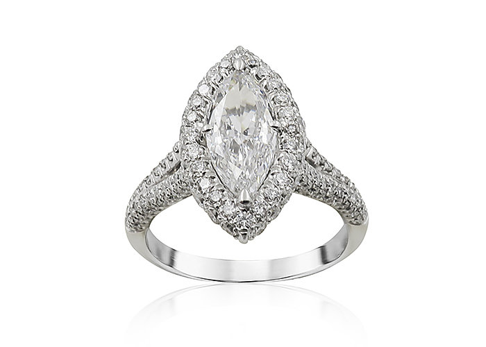 JB Star Platinum Halo Split Shank Engagement Ring, Featuring a 1.00ct Marquise Diamond, E Color, VS2 Clarity, GIA Certified, Accented with 156 Round Diamonds =.97ctw, G Color, VS Clarity