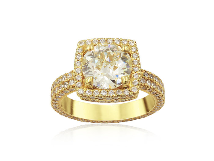 Alson Signautre Collection Engagement Ring, Fashioned in 18K Yellow Gold, Featuring a 2.01 Carat Round Diamond, Q Color, VS2 Clarity, Accented with 220 Round Diamonds =1.58cts Total Weight