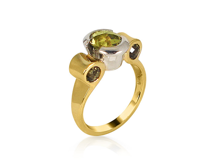 Alson Special Value, this 18K Yellow and White Gold Ring Features Four Round Citrines