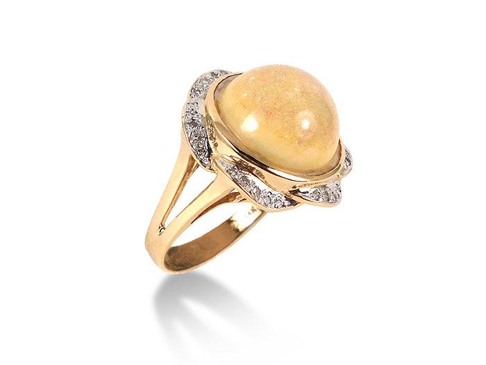 Alson Special Value, this 14K Yellow Gold Ladies Ring Features a Colored Gemstone Surrounded by Thirty .01 Carat Diamonds