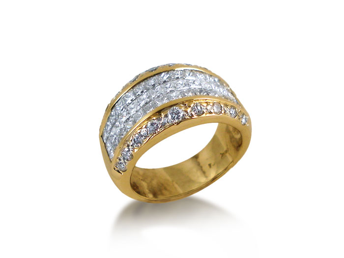 Alson Special Value 18K Yellow Gold Diamond Ring, Features Forty Two Princess Cut Diamonds and Eighteen Round Diamonds = 2.30 Carats Total Weight.