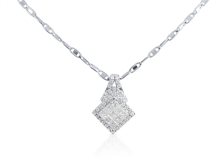 Alson Estate Collection 14K & 18K White Gold Diamond Necklace, Featuring 9 Princess Cut Diamonds =1.00ct Total Weight and 41 Round Diamonds =.40cts Total Weight