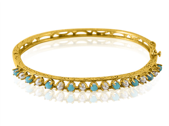 Alson Estate Collection Bangle Bracelet, Features Nine Round Turquoise and Eight Round Pearls Fashioned in 14K Yellow Gold.